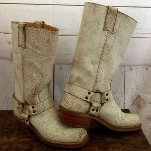 Frye White Crackle Harness Moto boots